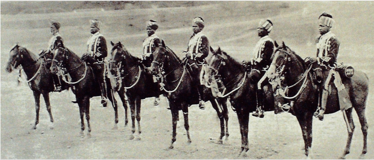 Types of H.H's African Guards, 1898. Source: Glimpses of the Nizam's Dominions: Being An Exhaustive Photographic History of the Hyderabad State, Deccan, India.