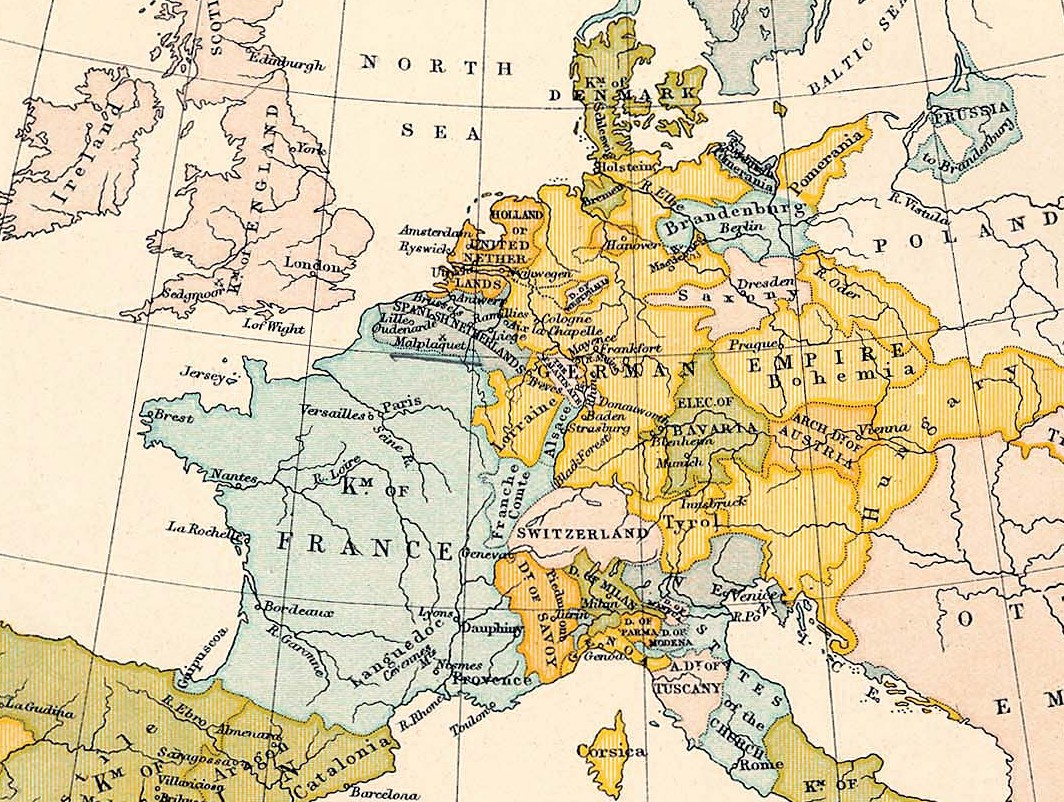 Map of Western Europe in 1700. Source: University of Texas at Austin, Wikimedia Commons, Public domain.