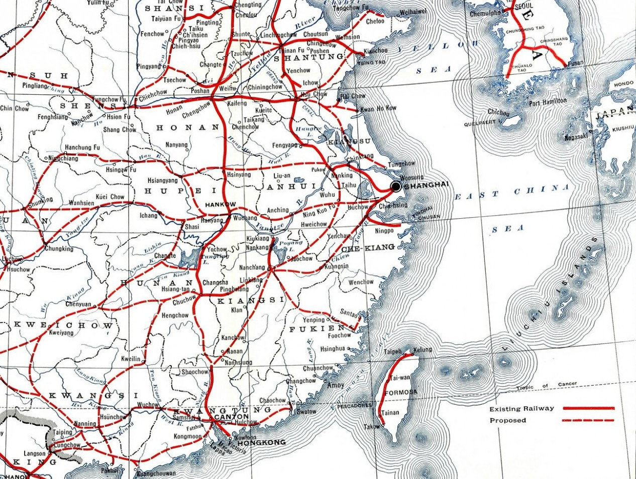Railway Map of China, 1918. Source: Flickr, No known copyright restrictions.