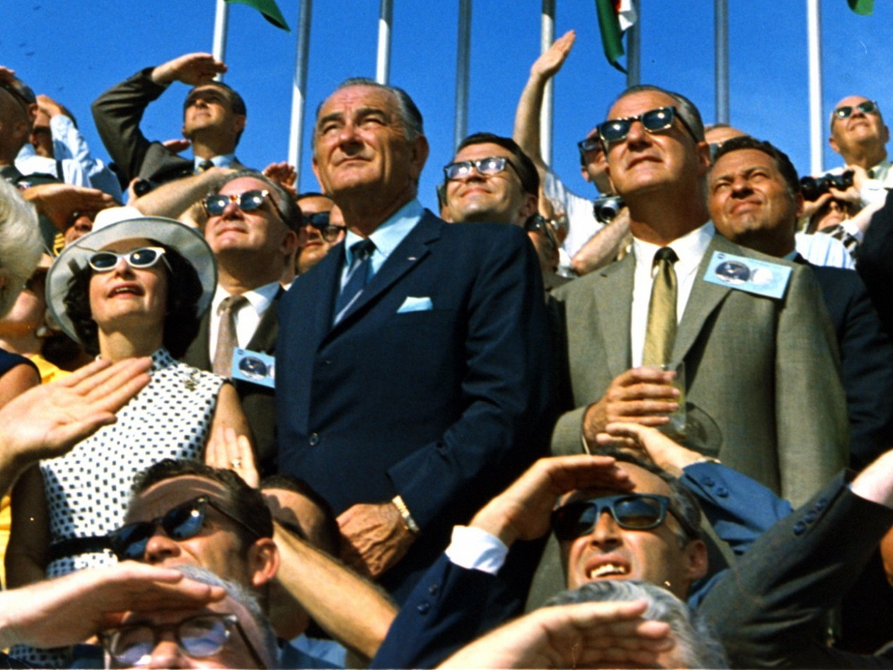 President Johnson and crowd watch return of Apollo 11. Source: NASA The Commons, Flickr - Public Domain